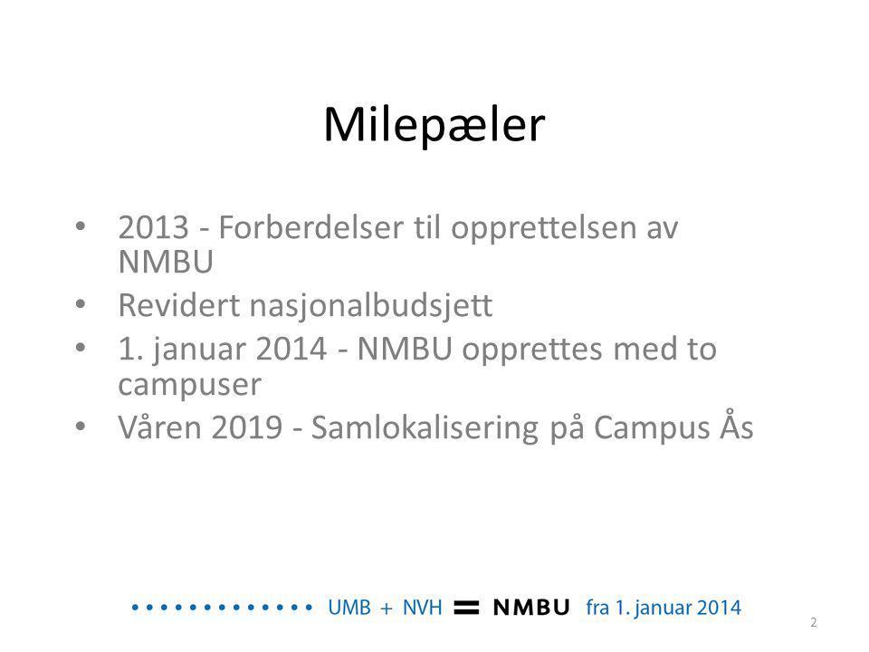 Milepæler 2013 - Forberdelser til opprettelsen av NMBU