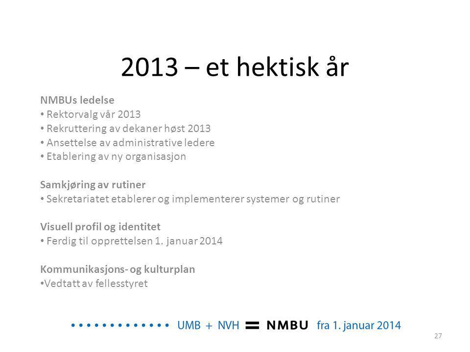 2013 – et hektisk år NMBUs ledelse Rektorvalg vår 2013