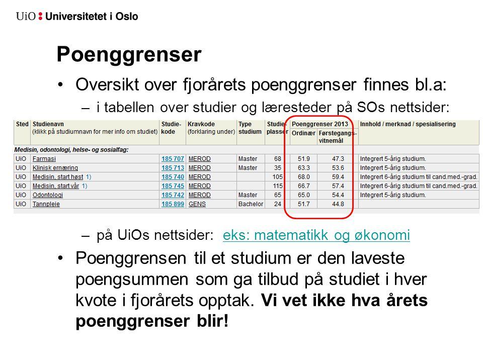 NB! Søkere som er kvalifisert i kvote for førstegangsvitnemål konkurrerer samtidig i ordinær kvote (med tilleggspoeng/nye fag/forbedringer)