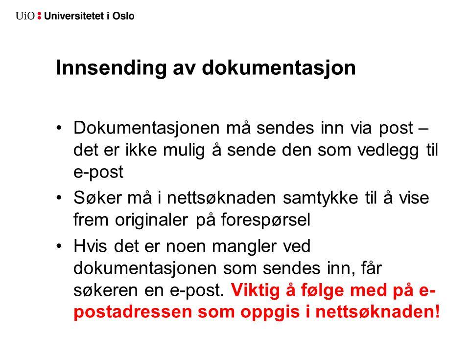 Innsending av dokumentasjon