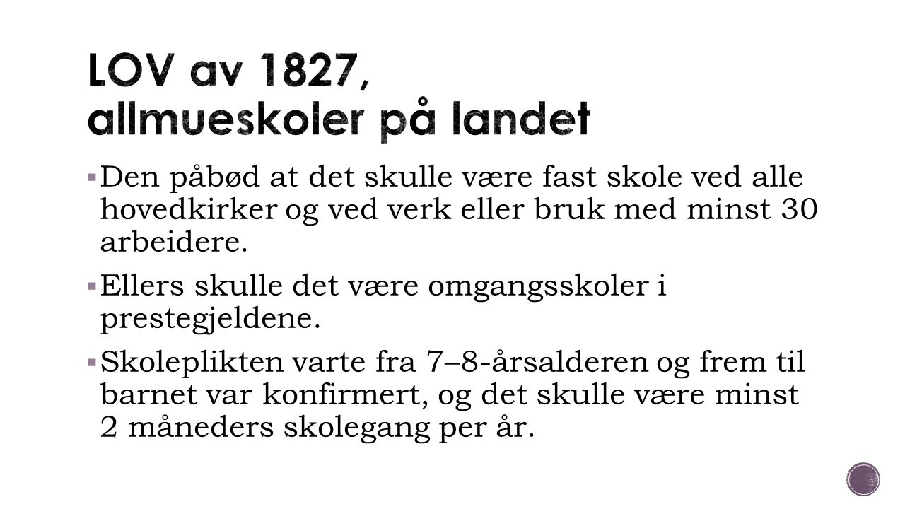 LOV av 1827, allmueskoler på landet