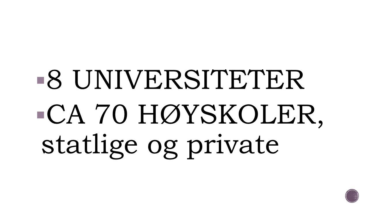 8 UNIVERSITETER CA 70 HØYSKOLER, statlige og private