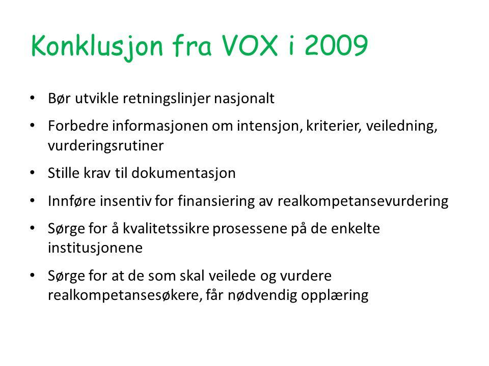 Konklusjon fra VOX i 2009 Bør utvikle retningslinjer nasjonalt