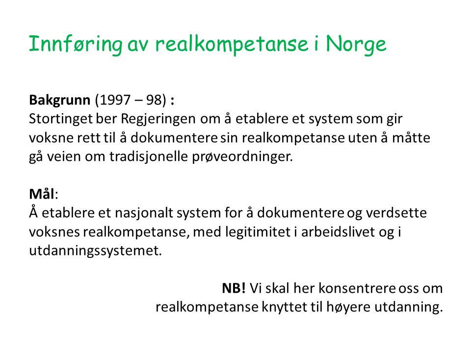 Innføring av realkompetanse i Norge