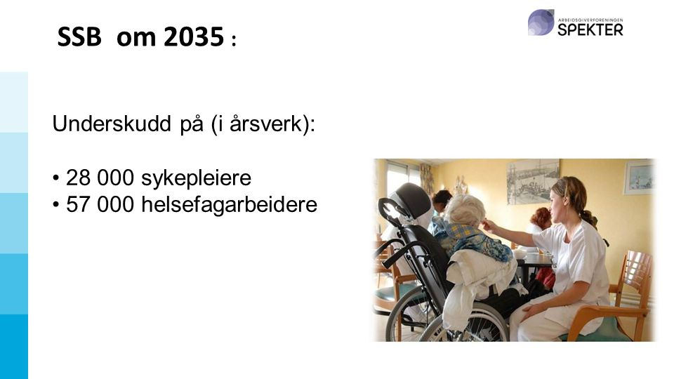 SSB om 2035 : Underskudd på (i årsverk): 28 000 sykepleiere