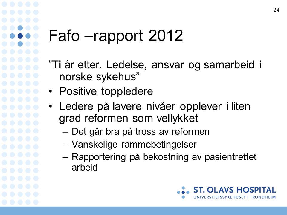 Fafo –rapport 2012 Ti år etter. Ledelse, ansvar og samarbeid i norske sykehus Positive toppledere.