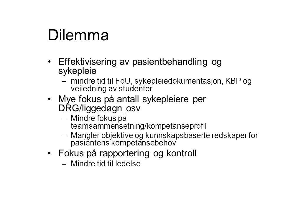 Dilemma Effektivisering av pasientbehandling og sykepleie