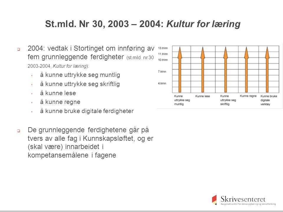 St.mld. Nr 30, 2003 – 2004: Kultur for læring