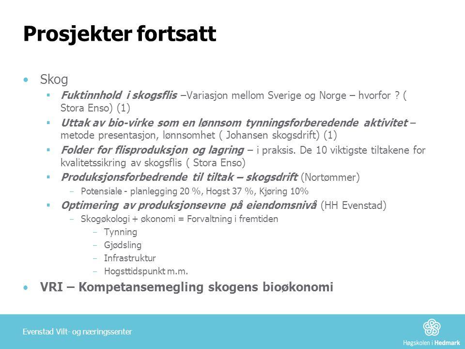 Prosjekter fortsatt Skog VRI – Kompetansemegling skogens bioøkonomi
