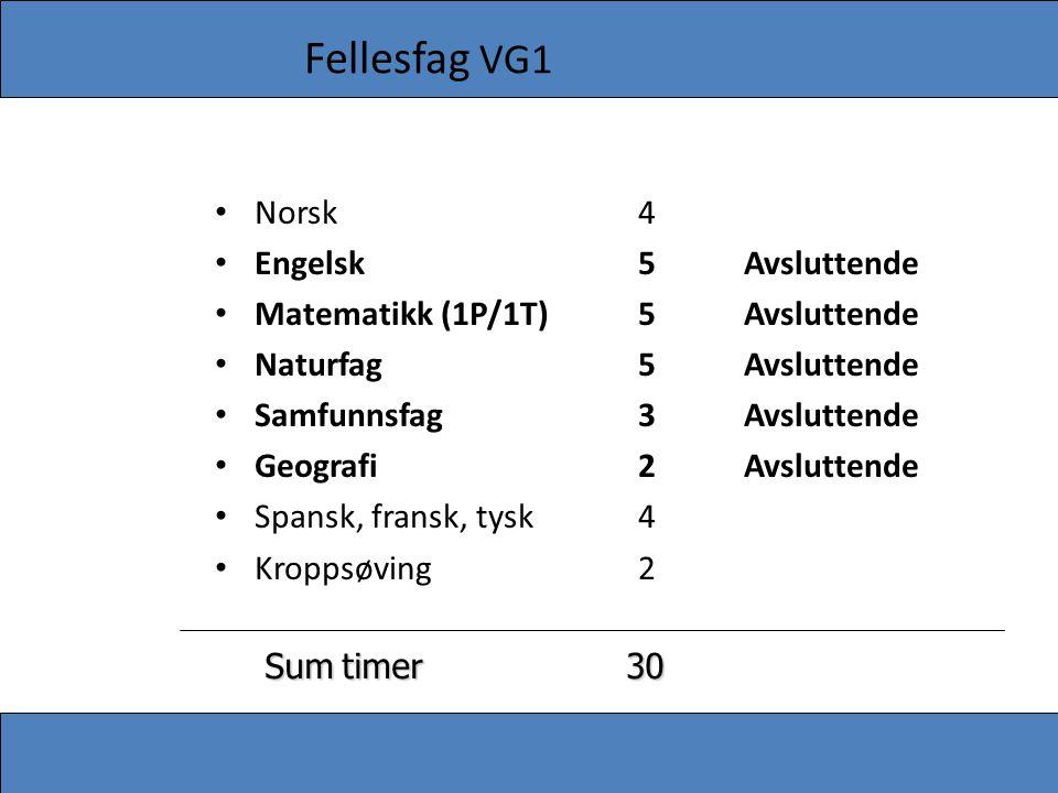 Fellesfag VG1 Norsk 4 Engelsk 5 Avsluttende