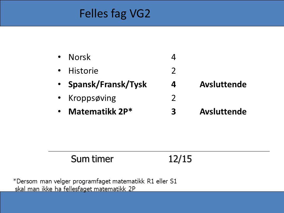 Felles fag VG2 Norsk 4 Historie 2 Spansk/Fransk/Tysk 4 Avsluttende