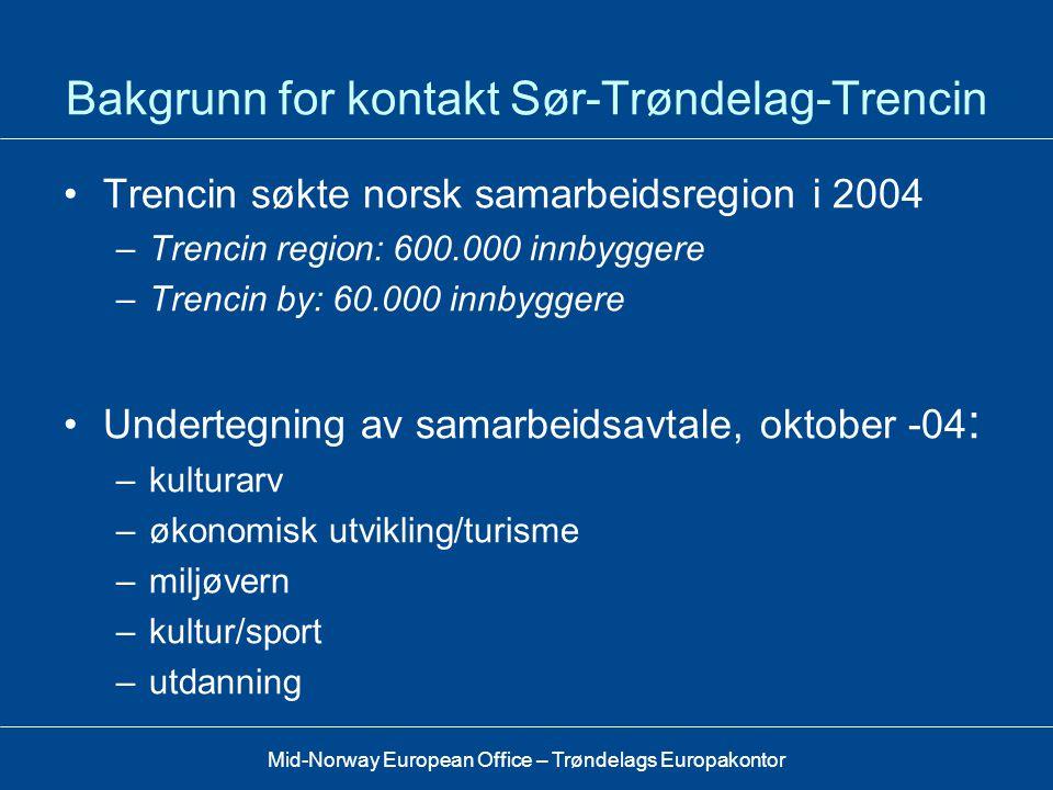 Bakgrunn for kontakt Sør-Trøndelag-Trencin