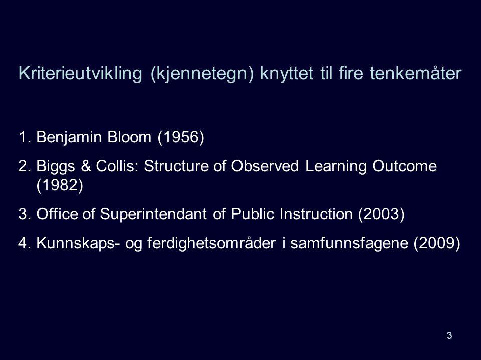 Kriterieutvikling (kjennetegn) knyttet til fire tenkemåter