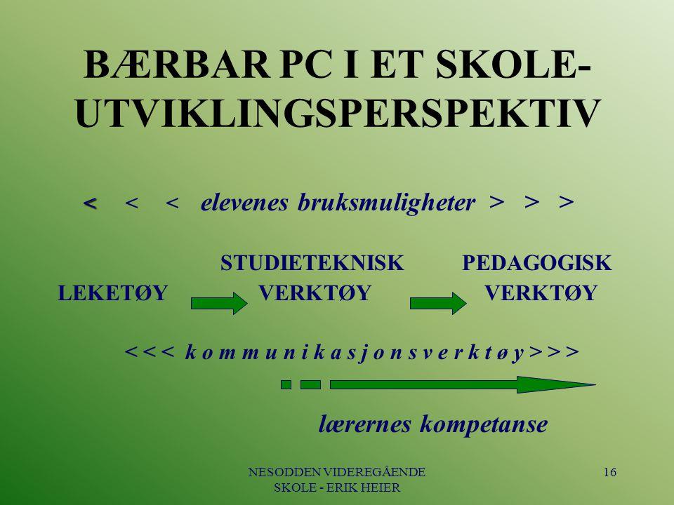 BÆRBAR PC I ET SKOLE- UTVIKLINGSPERSPEKTIV