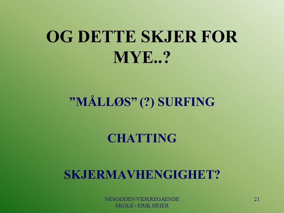 MÅLLØS ( ) SURFING CHATTING SKJERMAVHENGIGHET
