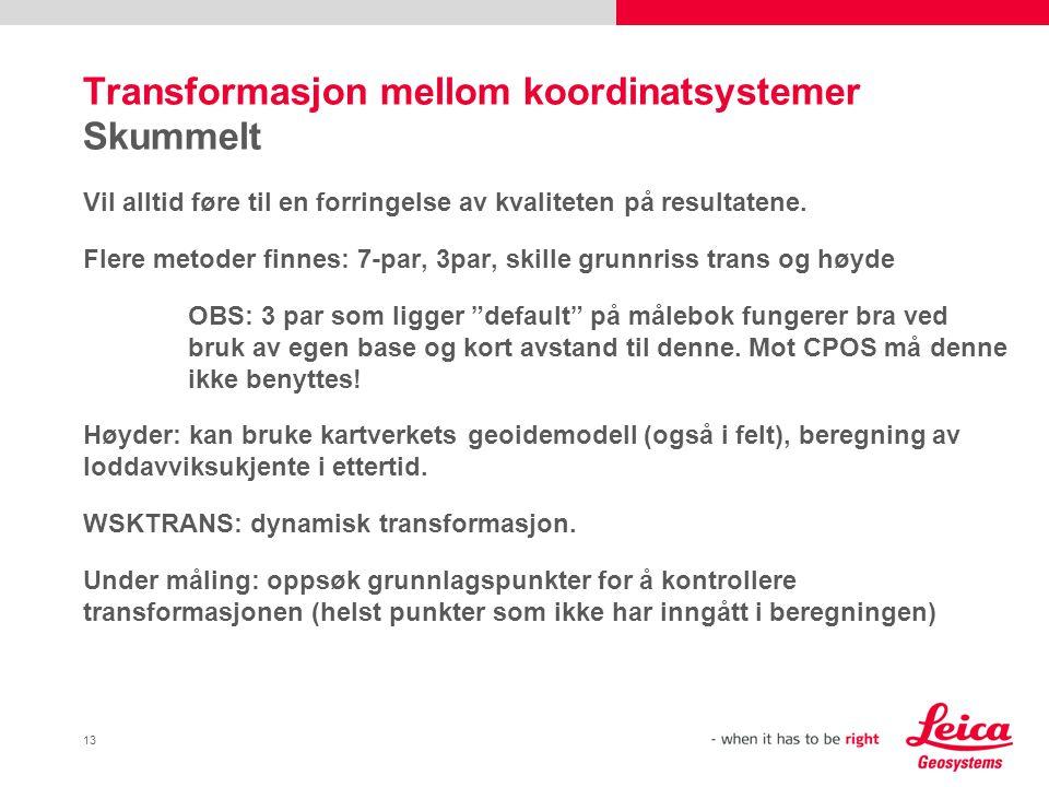 Transformasjon mellom koordinatsystemer Skummelt