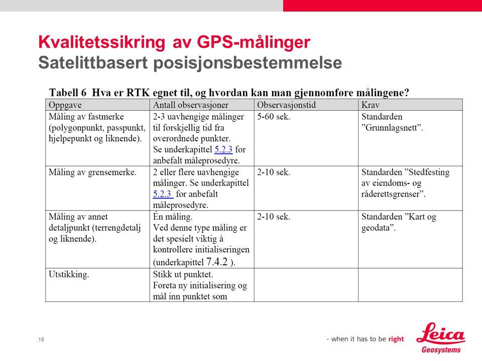 Kvalitetssikring av GPS-målinger Satelittbasert posisjonsbestemmelse