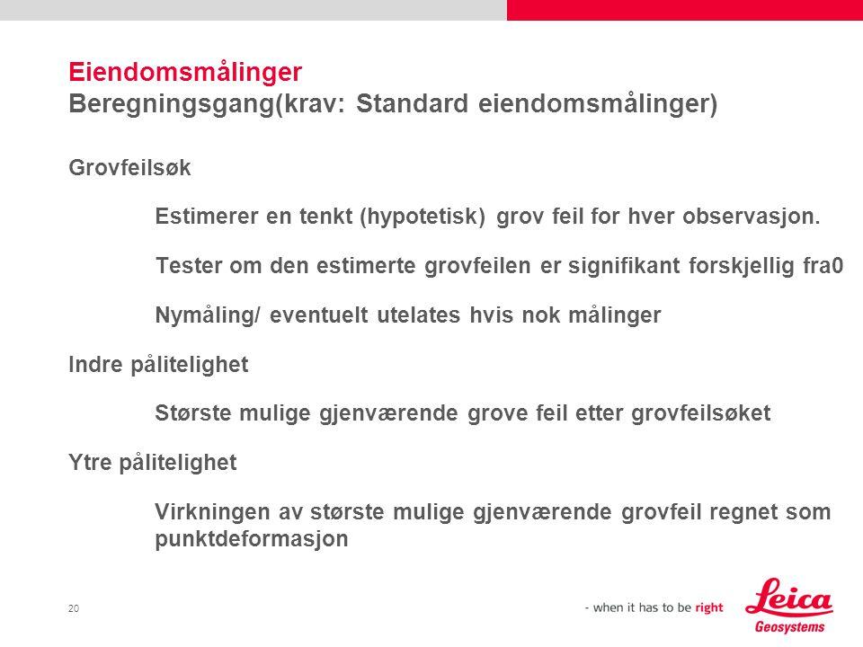Eiendomsmålinger Beregningsgang(krav: Standard eiendomsmålinger)