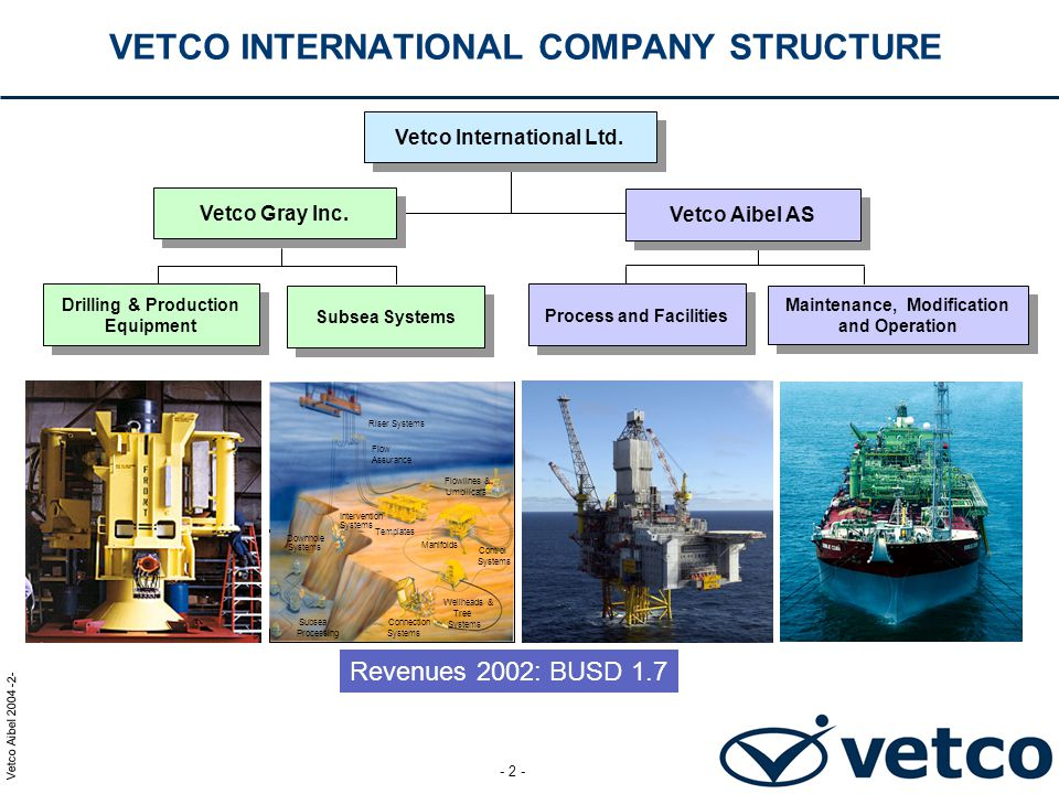 VETCO INTERNATIONAL COMPANY STRUCTURE