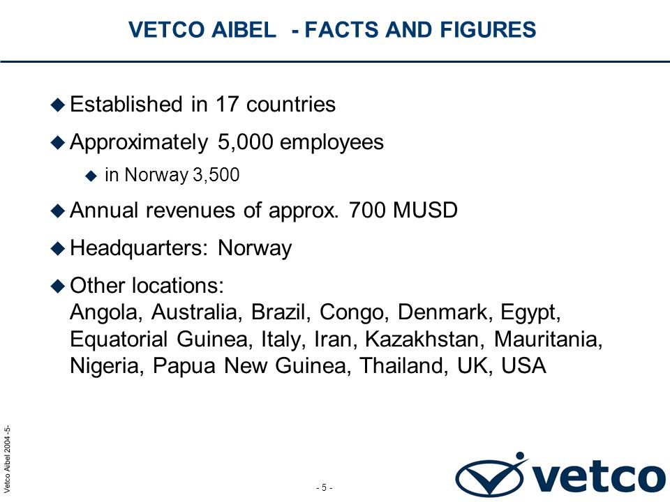VETCO AIBEL - FACTS AND FIGURES