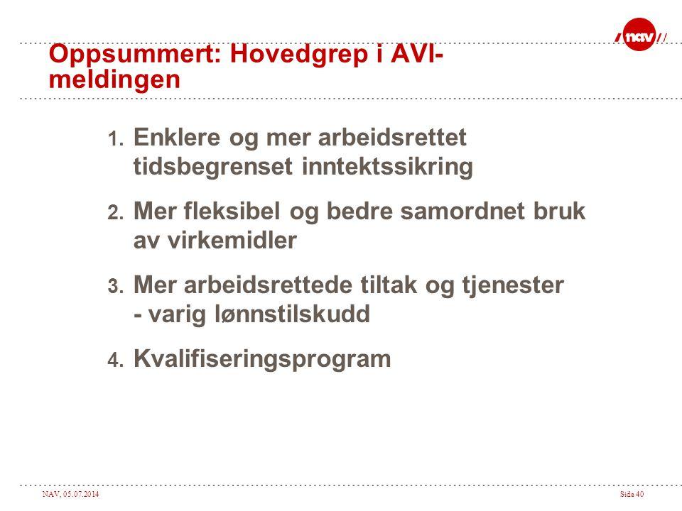 Oppsummert: Hovedgrep i AVI-meldingen