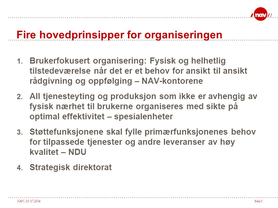 Fire hovedprinsipper for organiseringen