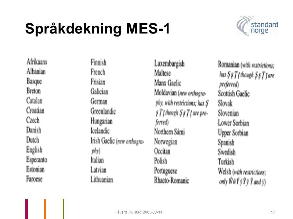Språkdekning MES-1 Håvard Hjulstad, 2005-03-14
