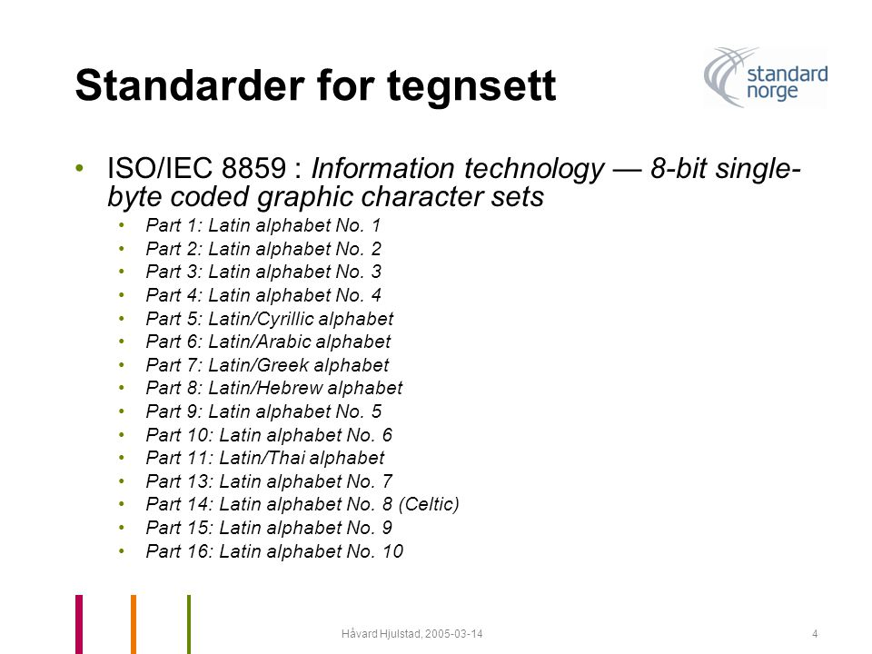 Standarder for tegnsett