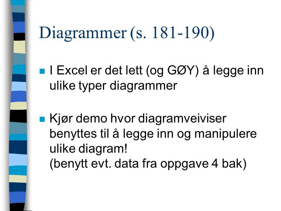 Diagrammer (s. 181-190) I Excel er det lett (og GØY) å legge inn ulike typer diagrammer.