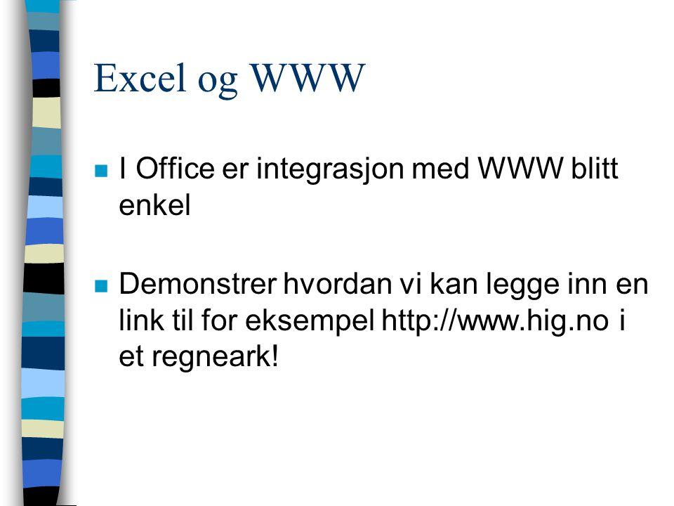 Excel og WWW I Office er integrasjon med WWW blitt enkel