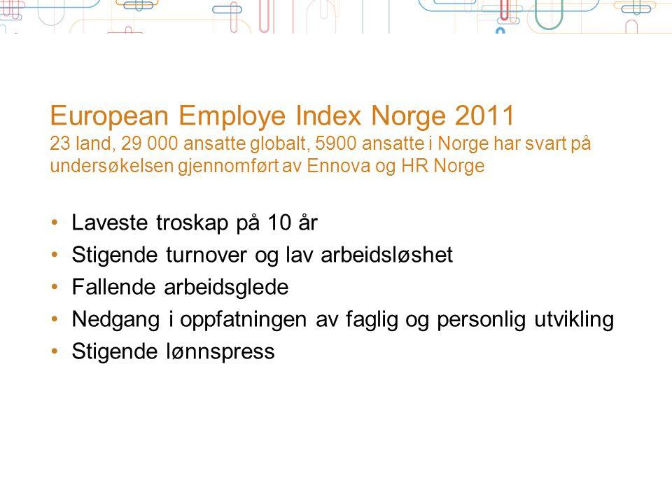 European Employe Index Norge 2011 23 land, 29 000 ansatte globalt, 5900 ansatte i Norge har svart på undersøkelsen gjennomført av Ennova og HR Norge