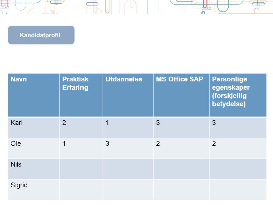 Navn Praktisk. Erfaring. Utdannelse. MS Office SAP. Personlige. egenskaper. (forskjellig betydelse)