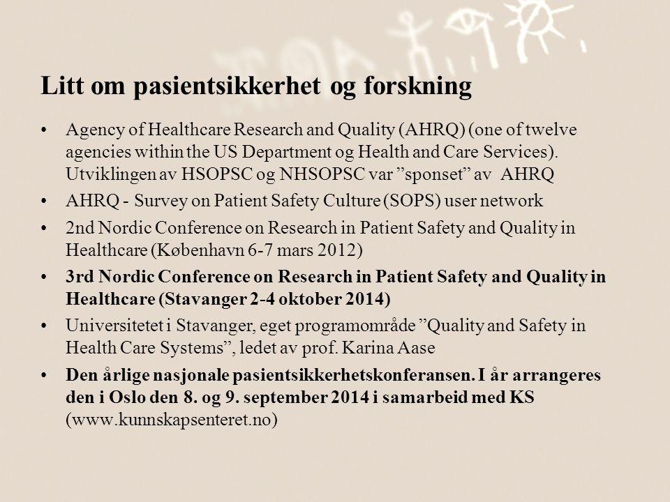 Litt om pasientsikkerhet og forskning