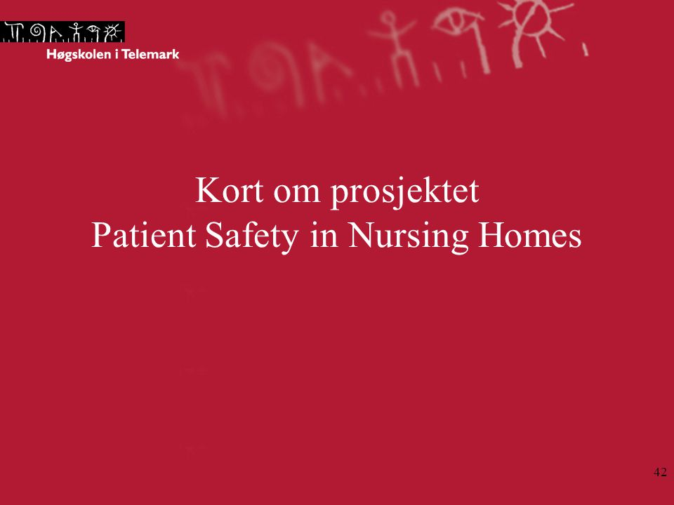 Kort om prosjektet Patient Safety in Nursing Homes