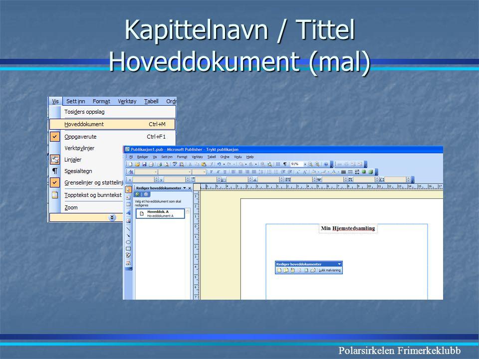 Kapittelnavn / Tittel Hoveddokument (mal)