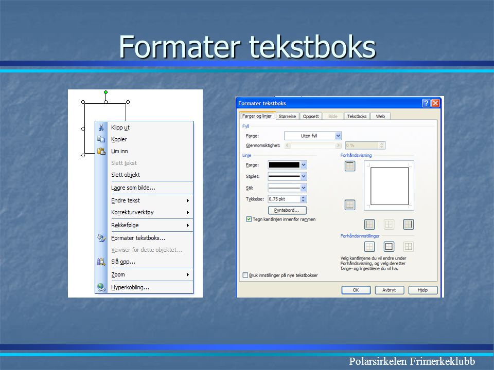 Formater tekstboks