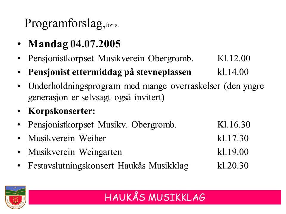 Programforslag,forts. Mandag 04.07.2005