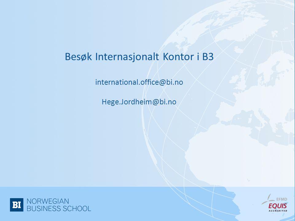 Besøk Internasjonalt Kontor i B3