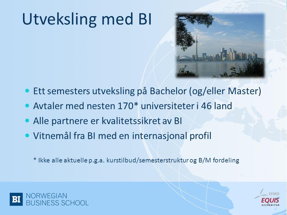 Utveksling med BI Ett semesters utveksling på Bachelor (og/eller Master) Avtaler med nesten 170* universiteter i 46 land.