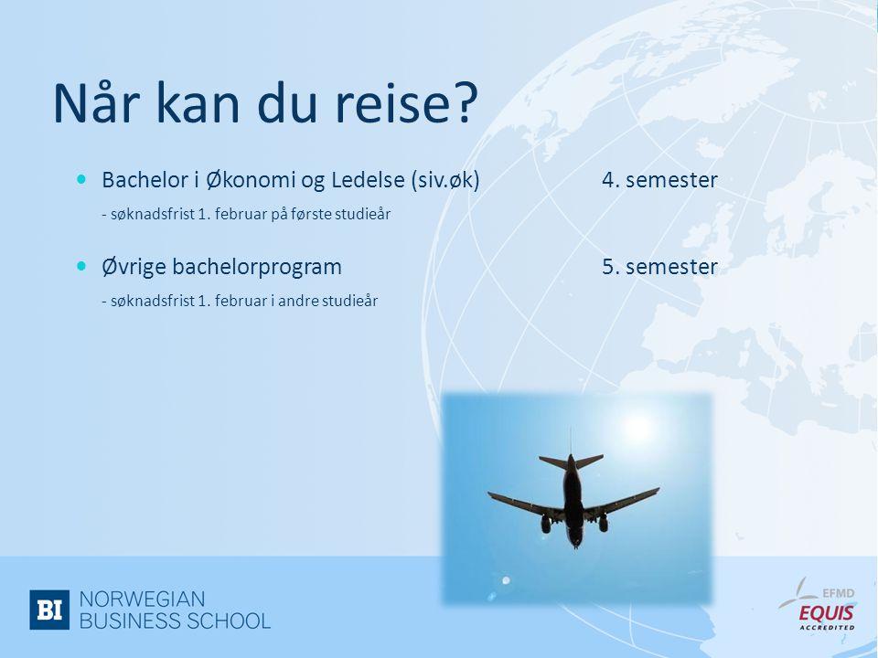 Når kan du reise Bachelor i Økonomi og Ledelse (siv.øk) 4. semester