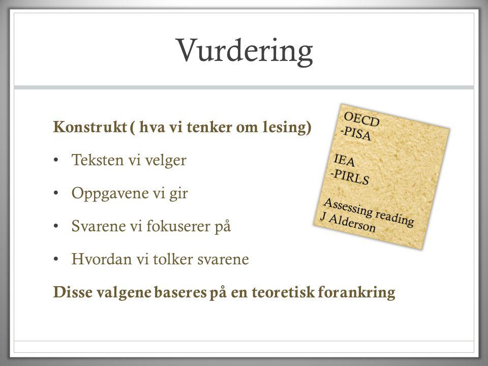 Vurdering Konstrukt ( hva vi tenker om lesing) Teksten vi velger