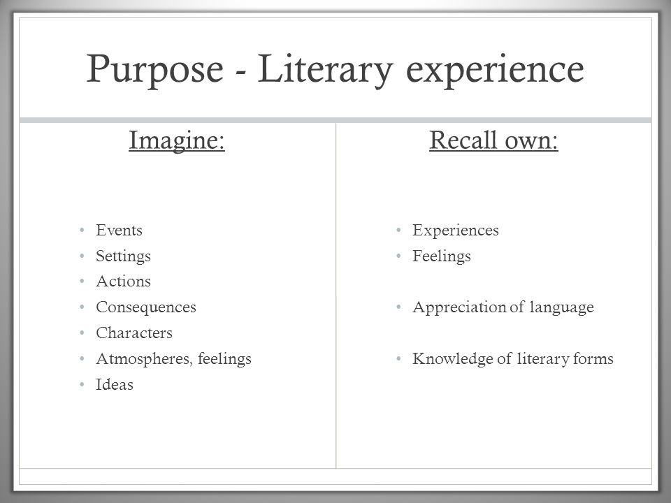Purpose - Literary experience