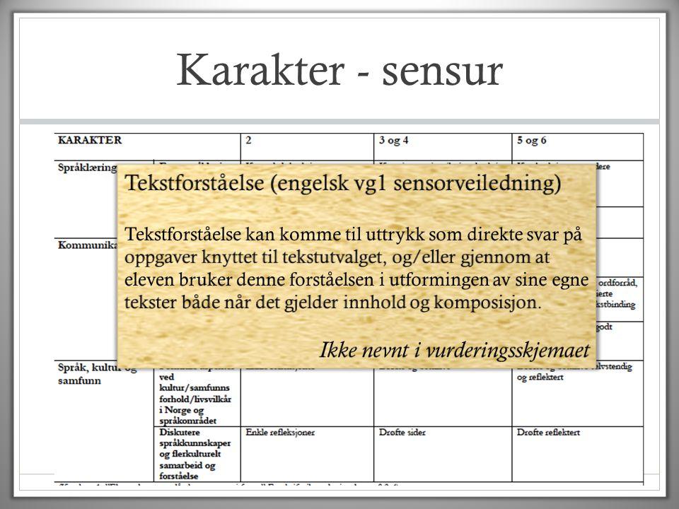 Karakter - sensur Tekstforståelse (engelsk vg1 sensorveiledning)