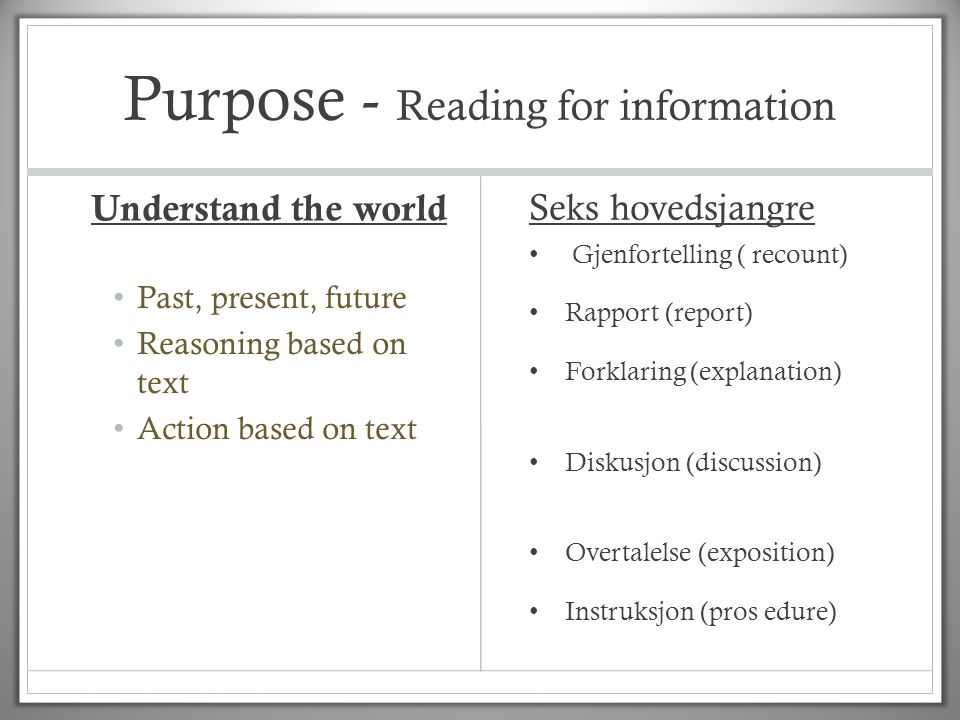 Purpose - Reading for information