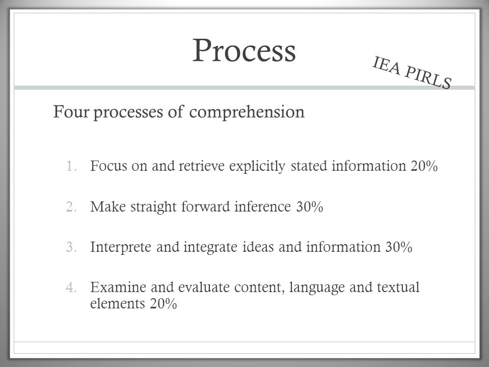 Process Four processes of comprehension IEA PIRLS