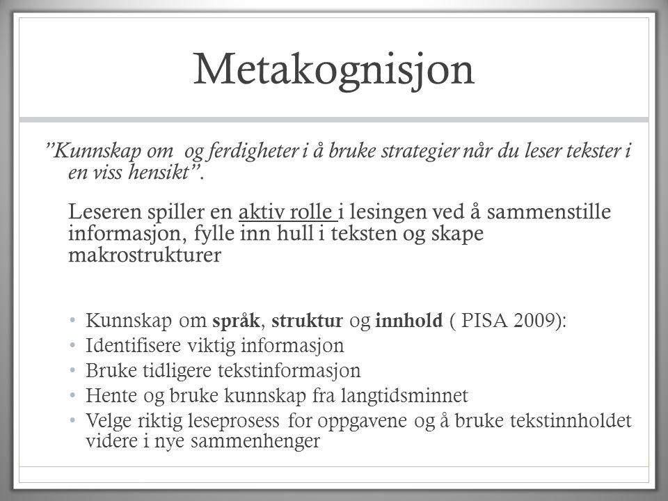 Metakognisjon Kunnskap om og ferdigheter i å bruke strategier når du leser tekster i en viss hensikt .