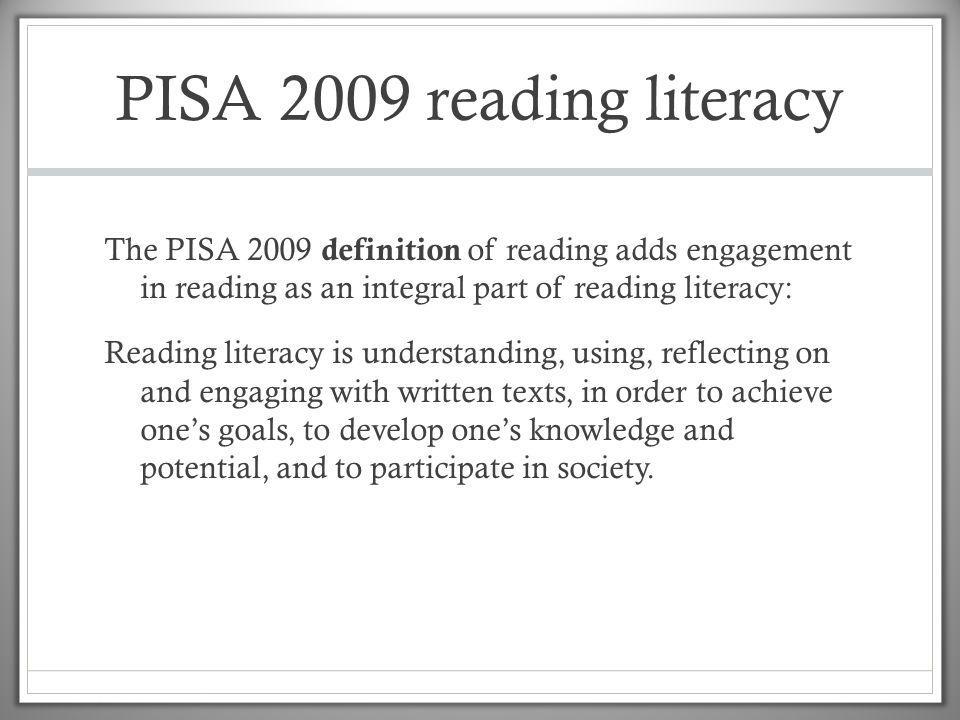 PISA 2009 reading literacy