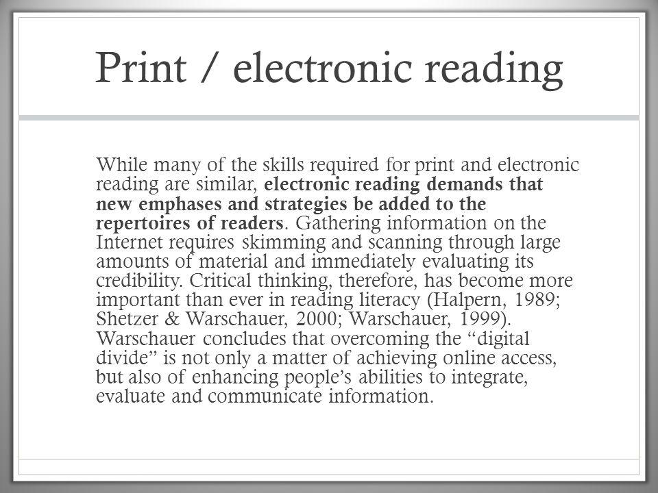 Print / electronic reading