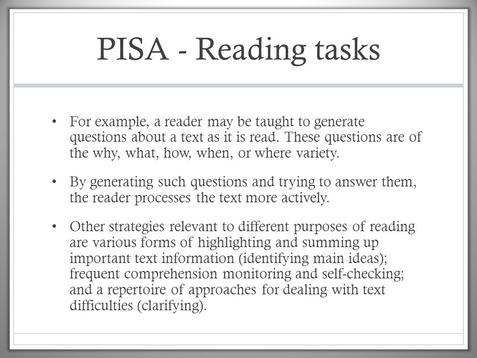 PISA - Reading tasks