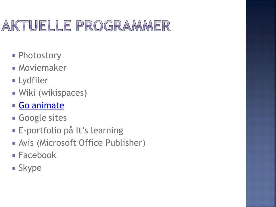 Aktuelle programmer Photostory Moviemaker Lydfiler Wiki (wikispaces)